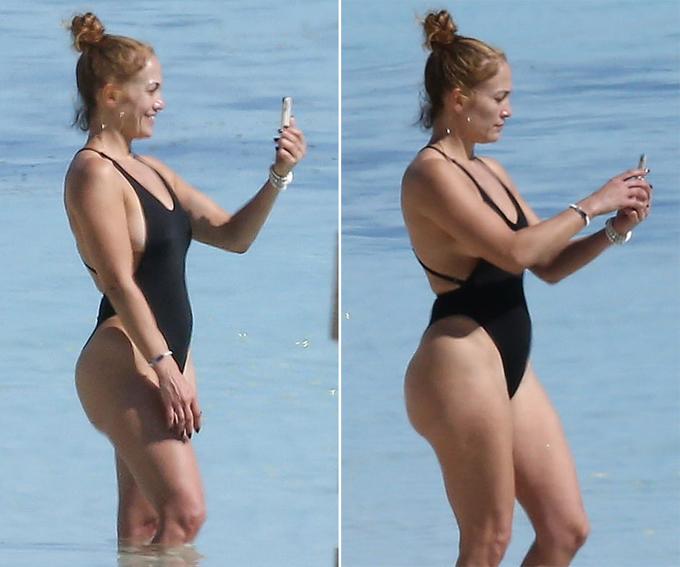 Cô để mặt mộc, chụp ảnh selfie trước cảnh biển.