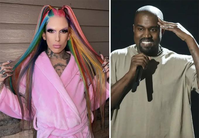 Jeffree Star (trái) và Kanye West.