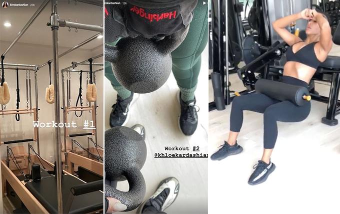 Kim Kardashian không bỏ bê tập luyện dù đang buồn chuyện hôn nhân.