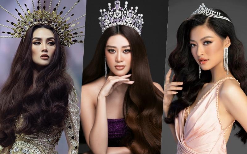Ba trong số 5 đề cử hạng mục Mỹ nhân của năm. Từ trái sang: á hậu Võ Hoàng Yến, hoa hậu Khánh Vân, á hậu Kiều Loan.