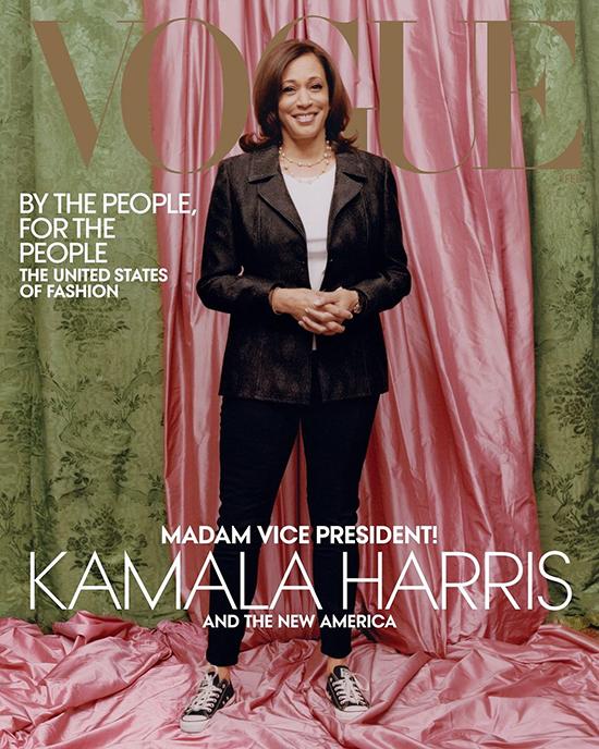 Bà Kamala Harris trên trang bìa chính thức của Vogue tháng 2.