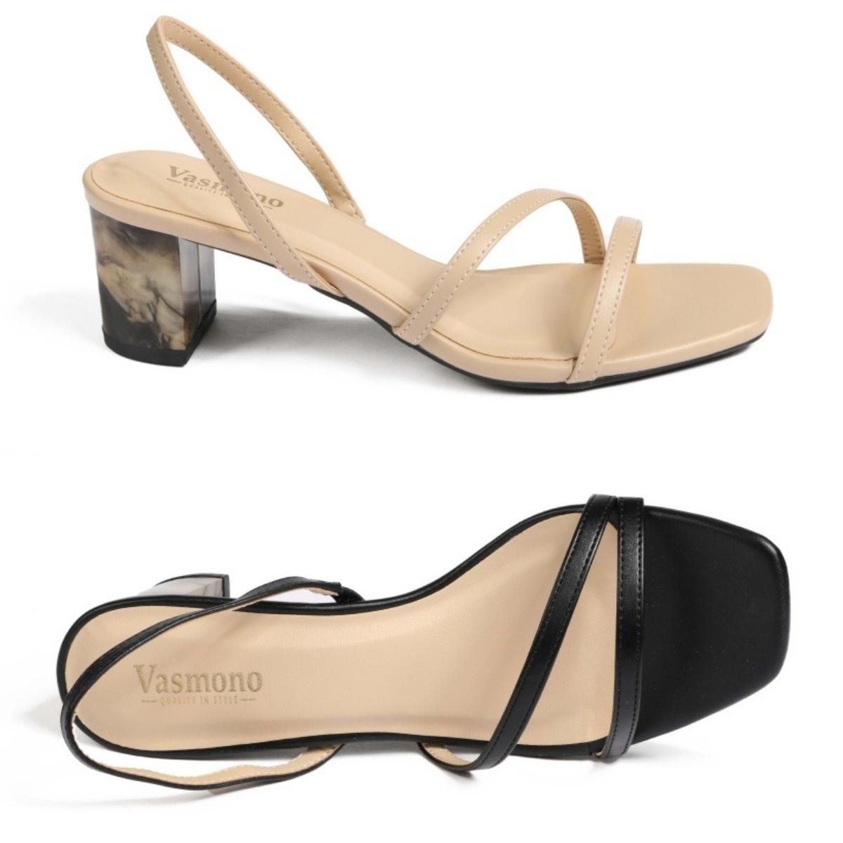 Nếu không thích mẫu giày bít mũi, các nàng có thể đổi phong cách với giày sandal quai mảnh Vasmono 118. Gót trụ 5 cm giúp chị em di chuyển thoải mái, vẫn tôn dáng mà không lo đau hay mỏi chân. Thiết kế sling back cùng gót giày họa tiết màu loang lạ mắt, dễ phối với nhiều kiểu trang phục từ quần tây đến váy, đầm... Sản phẩm có giá 299.000 đồng, giảm 29% so với giá gốc.