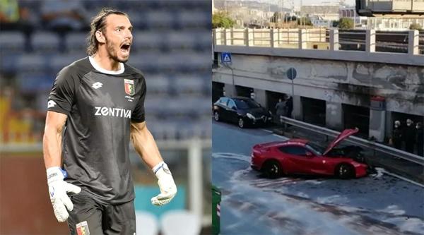 Siêu xe của thủ môn Genoa bị hư hỏng sau khi mang đi rửa. Ảnh: CDS.