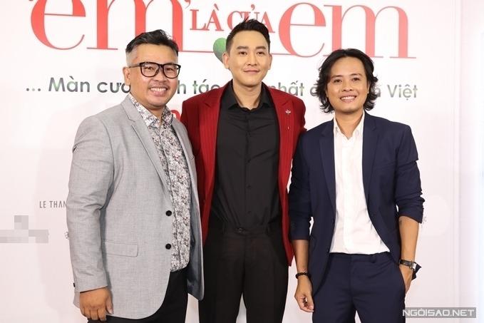 Nhà sản xuất Lý Minh Thắng, diễn viên Hứa Vĩ Văn và đạo diễn Lê Thiện Viễn (từ trái qua) tại buổi ra mắt phim Em là của em.