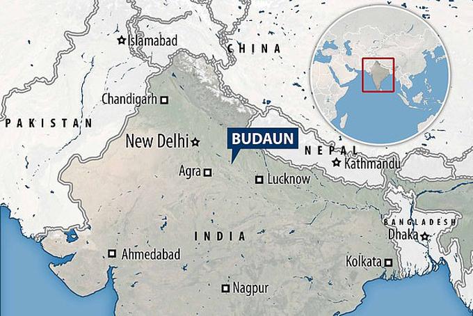 Budaun - nơi xảy ra vụ hiếp dâm tập thể, giết người - hôm 3/1. Ảnh đồ họa: Mail.
