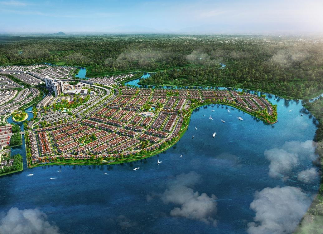Phối cảnh đô thị đảo Phượng Hoàng – Phenix South thuộc đô thị sinh thái thông minh Aqua City. Ảnh: Novaland.