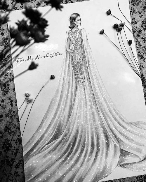 Bản phác thảo mẫu đầm cưới.