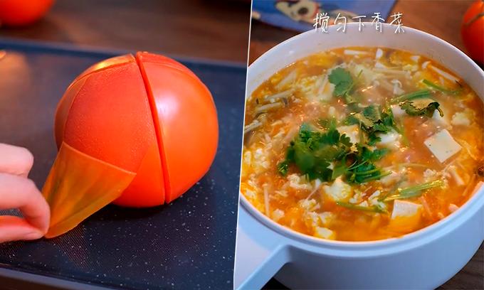 Cách nấu canh cà chua nấm trong một nốt nhạc