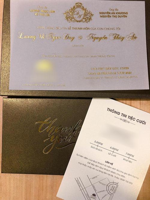 Theo thông tin trên thiệp, á hậu và chồng sắp cưới - tiến sĩ Ngọc Duy sẽ tổ chức tiệc hôm 23/1 ở khách sạn sang trọng tại TP HCM. Cặp vợ chồng sẽ đón khách từ 17h30 và khai tiệc lúc 19h cùng ngày. Trước đó, ngày 8/1, Á hậu Thúy An và chồng đã tổ chức đám cưới ở quê nhà An Giang của cô dâu. Thúy An đã được gia đình tặng cho nhiều món quà cưới giá trị, hơn 13 cây vàng, bao gồm khoảng 10 chiếc kiềng vàng, 1 vòng cổ, 10 lắc tay và nhiều nhẫn vàng, nhẫn cưới đeo kín tay.