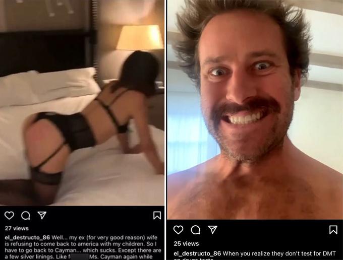 Armie khoe video ngủ với một cô gái ở Cayman.