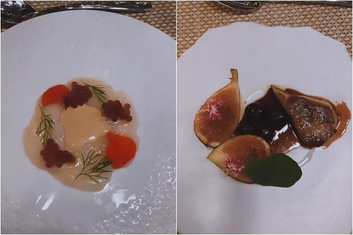 Trứng cá tầm ngâm rượu Gin ăn kèm tôm mayonnaise và gan ngỗng ăn với quả sung của Hồ Ngọc Hà.