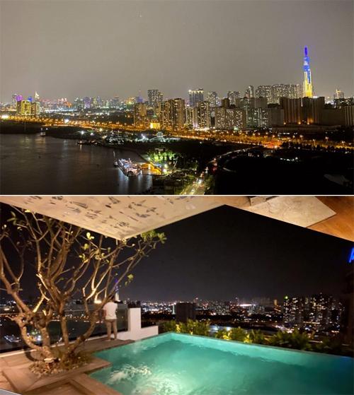 Buổi tối, cả nhóm lại dời căn cứ về một căn hộ penthouse sang trọng, có hồ bơi để tiếp tục vui chơi. View từ căn hộ sang trọng - nơi tổ chức tăng 2 của bữa tiệc hội con nhà giàu.