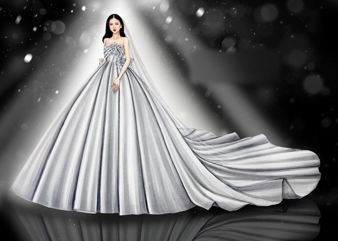Bên cạnh đầm cưới đón khách, á hậu còn diện một váy cưới chính để làm lễ cũng của Lâm Lâm.