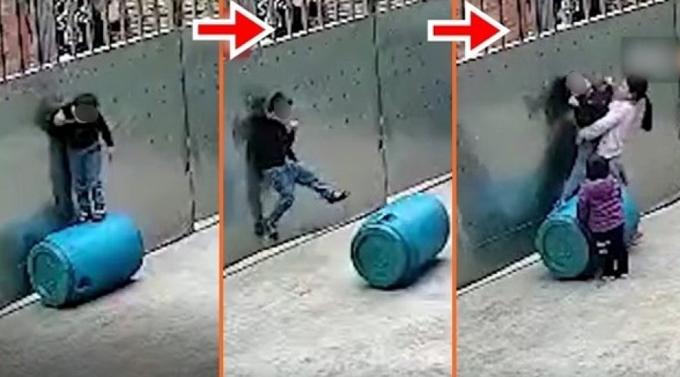 Bé 3 tuổi bị thòng lọng treo cổ khi chơi một mình ở cổng nhà tại thành phố Đông Phương, tỉnh Hải Nam, Trung Quốc hôm 22/1. Ảnh: Weibo.