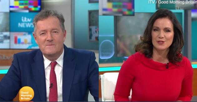 Piers Morgan (trái) tranh cãi với đồng nghiệp về ảnh khoe ngực của Elizabeth Hurley.
