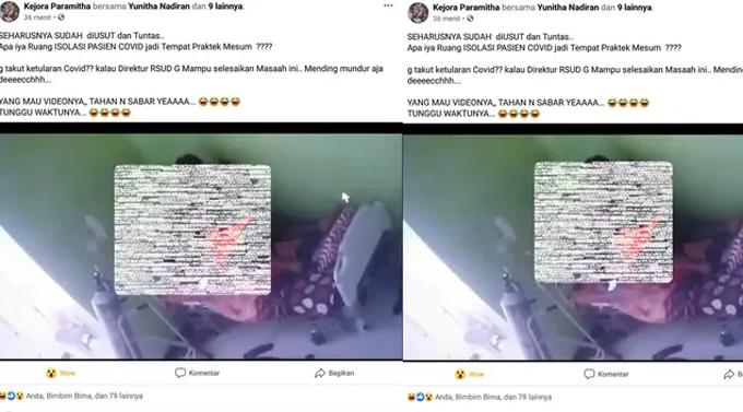 Ảnh chụp màn hình video sex bị phát tán của cảnh sát viên Dompu trong phòng cách ly Covid-19. Ảnh: Kompas.