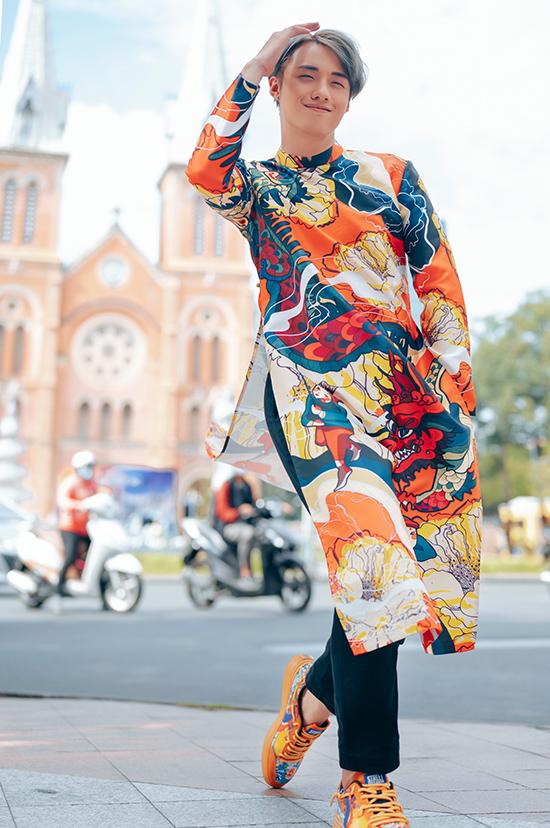 Hot boy Hải Đăng Doo phối áo dài với giày sneaker - 16
