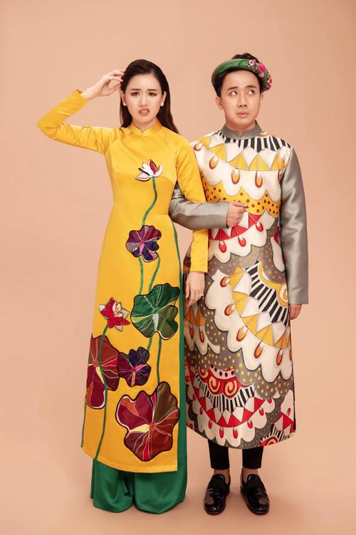 Hình ảnh đáng yêu của cặp đôi Hari Won - Trấn Thành trong trang phục Tết nhận được nhiều tình cảm của khán giả.
