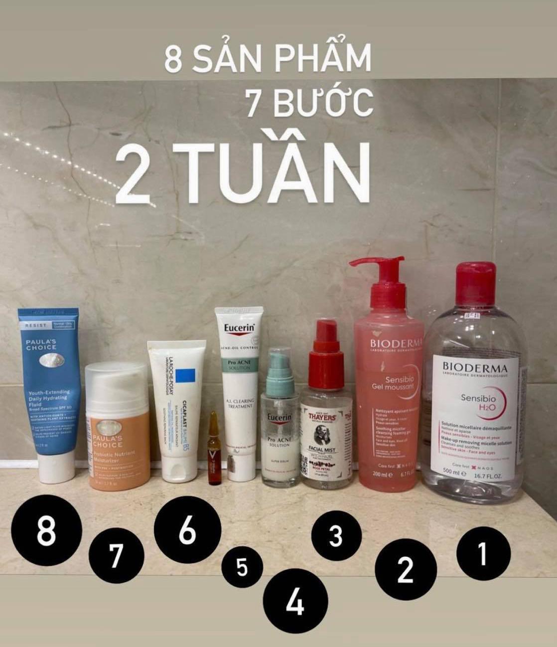Chu trình chăm sóc da và các sản phẩm Hoàng Ku đang sử dụng.