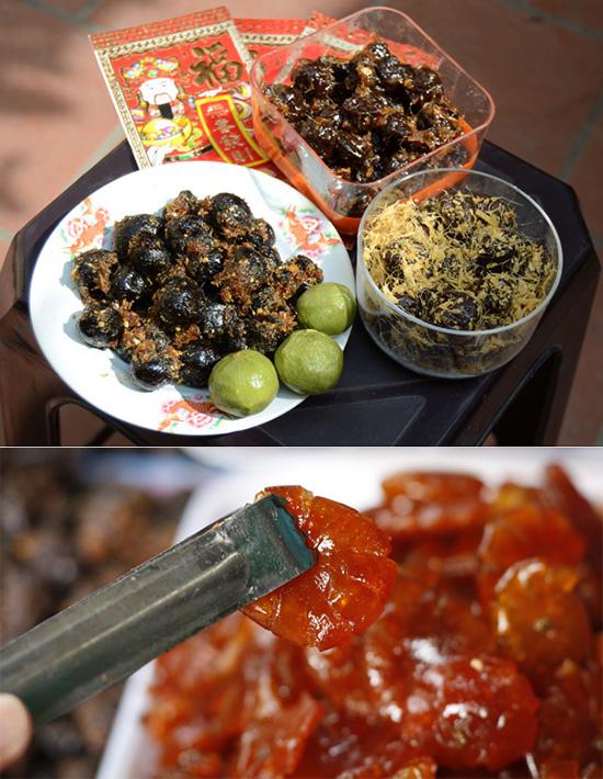 Ô mai sấu gừng, mơ gừng, quất hồng bì là những hương vị ô mai truyền thống ở Hà Nội. Ảnh: Nguyên Chi