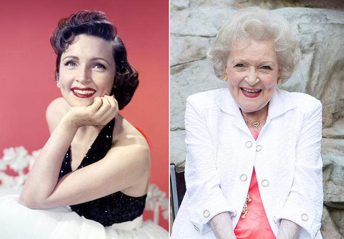 Bà Betty White, 99 tuổi, đã gắn bó với sự nghiệp diễn xuất từ thập niên 1930. Betty được khán giả yêu thích từ những ngày đầu đóng phim bởi phong cách dí dỏm, gương mặt tươi sáng. Bà là diễn viên nữ đầu tiên của thể loại phim hài sitcom trên truyền hình Mỹ và sau đó nhận được 8 giải Emmy, 3 giải American Comedy, 3 giải Screen Actors Guild Awards và một giải Grammy.. Hiện tại, dù sắp tròn 100 tuổi, Betty vẫn đóng phim, lồng tiếng. Betty tiết lộ khiếu hài hước và sự lạc quan là bí quyết giúp bà sống thọ.