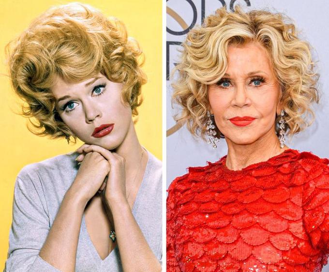 Vào năm 1965, Jane Fonda trở thành ngôi sao điện ảnh nổi tiếng toàn thế giới với phim hài nhận 5 đề cử Oscar Cat Ballou. Nữ diễn viên xinh đẹp và tài năng người Mỹ tiếp tục trở thành ngôi sao đắt giá trong hàng chục thập kỷ sau đó. Jane giành tổng cộng 7 đề cử Oscar và chiến thắng hai lần. Năm 1982, video Jane Fonda hướng dẫn tập thể dục với những động tác dẻo dai, giọng đọc quyến rũ trở thành băng cassette bán chạy nhất mọi thời đại với 17 triệu bản. Bà từng nghỉ diễn suốt thập niên 1990 khi kết hôn với tỷ phú Ted Turner, tuy nhiên sau ly hôn Ted, bà tái xuất màn ảnh. Hiện tại, ở tuổi 83, Jane Fonda vẫn là nữ diễn viên đắt giá và là biểu tượng thời trang quên tuổi.