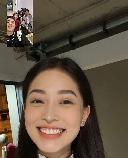 Á hậu Phương Nga gọi điện qua Facebook chúc Tết nhà gia đình bạn trai Bình An.
