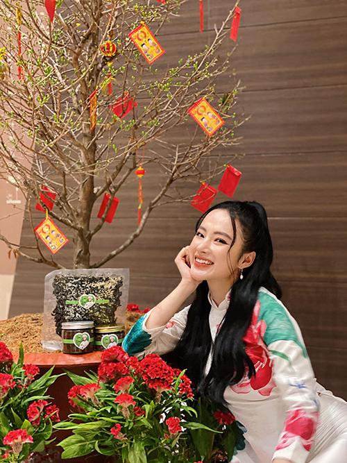 Áo dài với nhiều tông màu tươi sáng, kiểu dáng từ truyền thống đến cách tân hiện đại đều được Angela Phương Trinh chọn để mặc xuyên suốt dịp Tết Nguyên đán.