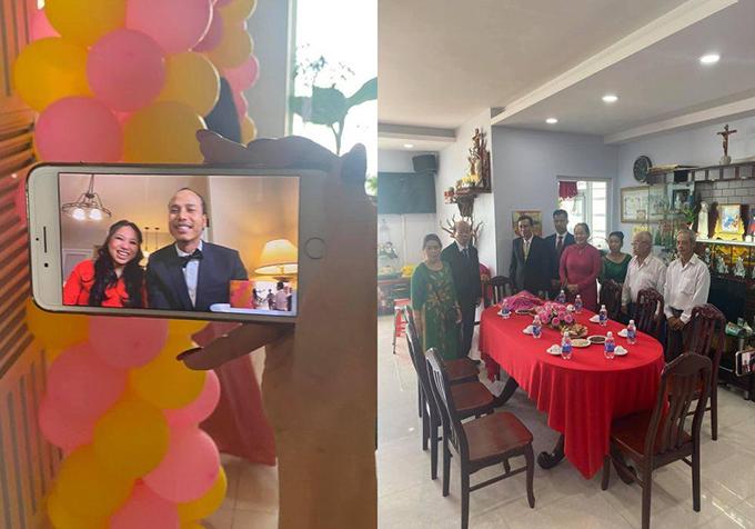 Tiệc đính hôn online được diễn ra với đủ nghi thức ở Việt Nam, có bố mẹ vợ và mẹ David Phạm, họ hàng hai bên chủ trì, chứng kiến.