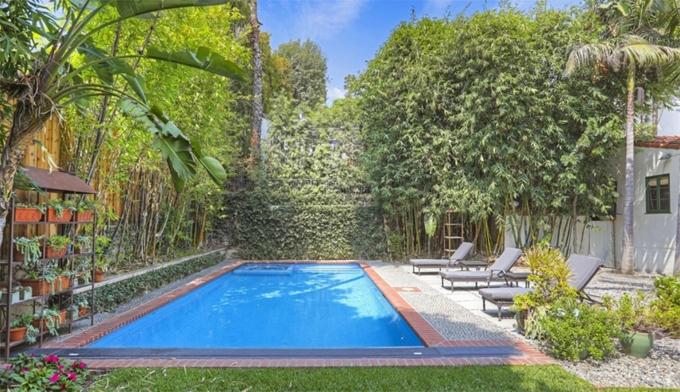Bể bơi trong góc vườn với hàng rào cây tươi tốt bao quanh.