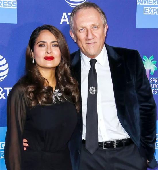 Vợ chồng Salma Hayek tại liên hoan phim tháng 2/2020.