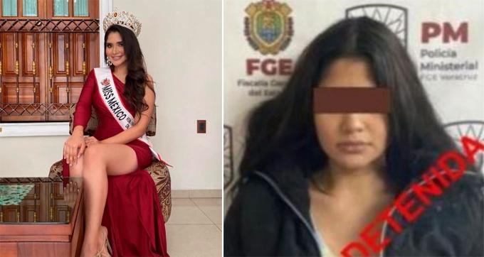 Laura Mojica Romero khi tham gia cuộc thi Miss Mexico 2019 (trái) và lúc bị bắt.