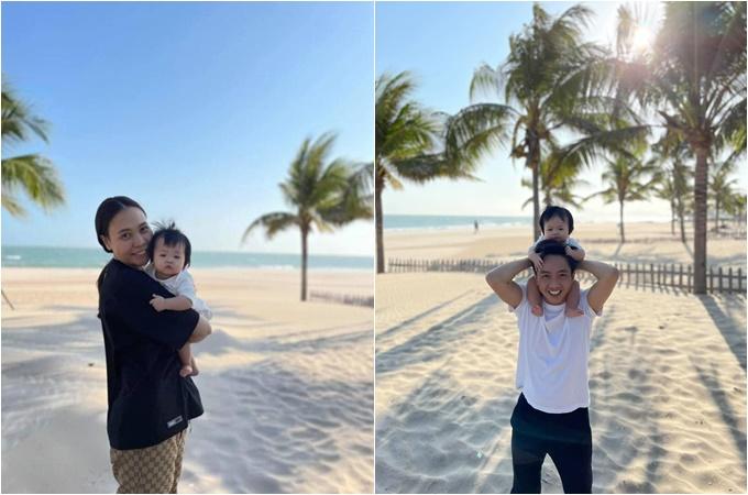 Vợ chồng Đàm Thu Trang - Cường Đôla đưa con gái đi chơi biển.