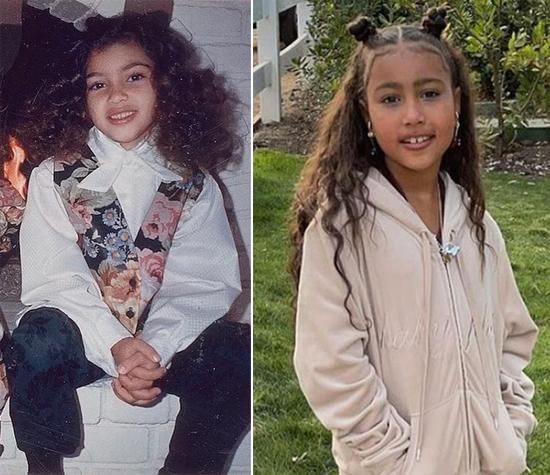 Kim Kardashian (trái) hồi bằng tuổi North bây giờ.