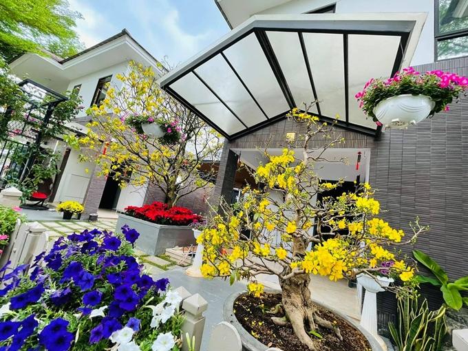 Nhật Kim Anh trồng nhiều loại cây, hoa trong khu vườn của mình, chủ yếu là hoa mai và các loại hoa hồng nhập khẩu đắt tiền. Cô cho biết phần lớn cây cảnh và hoa trong vườn được bạn bè tặng.