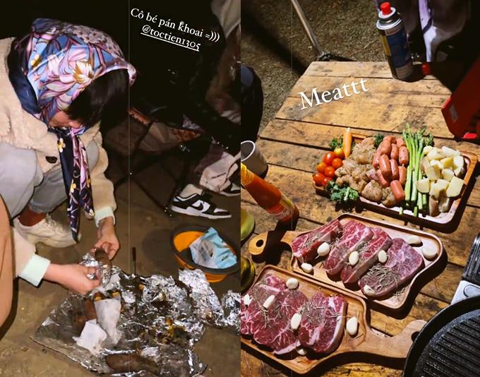 Nhóm của Tóc Tiên không cần phải chuẩn bị bất cứ việc gì mà chỉ cần đi người không tới đây bởi mọi thiết bị, dụng cụ và cả đồ ăn cũng được trang bị đầy đủ. Bữa tối gồm đủ món như bò Australia, lườn ngỗng, măng tây, soup nấm, xúc xích, khoai tây, cà chua, cà rốt... Tối đến, Tóc Tiên và hội chị em còn quây quần quanh lửa trại và nướng khoai mật.