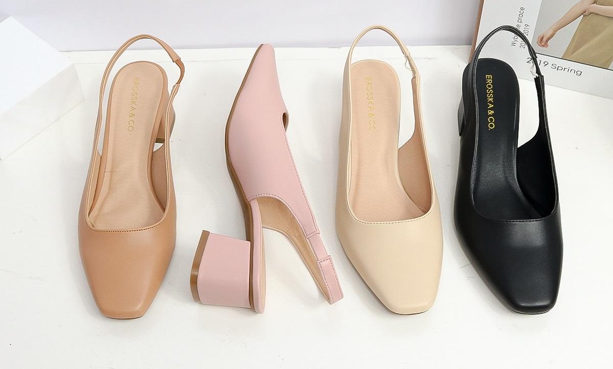 Giày cao gót Erosska mũi vuông thiết kế dáng sling back, dễ mang. gót hở phối dây quai mảnh kiểu dáng basic cao 5cm