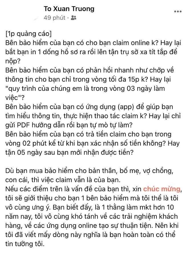 Chia sẻ của anh Trường trên trang Facebook cá nhân. Ảnh: Facebook Tô Quang Trường.