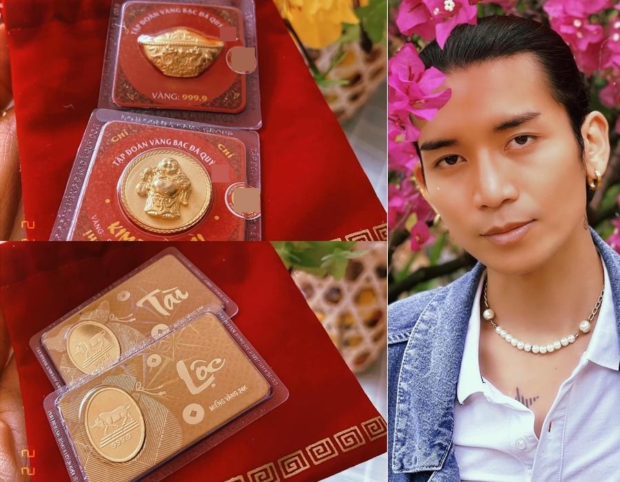 Diễn viên BB Trần được bố lì xì và tặng vàng, khiến anh cảm thấy đầu năm nhiều phú quý, may mắn.