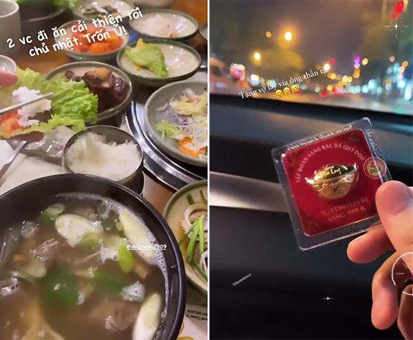 Quỳnh Anh khoe ảnh hai vợ chồng đi ăn đồ Hàn Quốc và được ông xã tặng một chỉ vàng ngày vía Thần tài. Ảnh: Instagram.