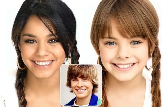Nếu series Highschool Musical được nối dài tới khi các nhân vật chính trưởng thành và kết hôn, cặp đôi chính Vanessa Hudgens - Zac Efron có thể sẽ có con gái giống như trong hình.