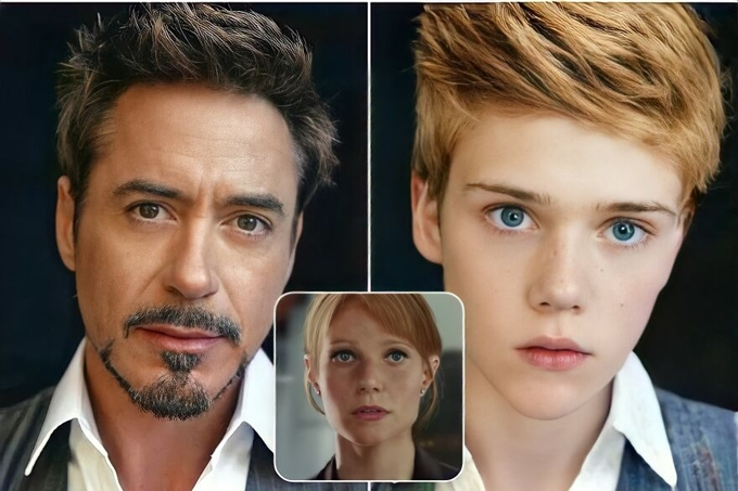 Trong vũ trụ điện ảnh Marvel, nhân vật Iron Man (Robert Downey Jr. đóng) và người vợ Pepper Potts (Gwyneth Paltrow đóng) vốn có một cô con gái. Nhưng tác giả của bộ ảnh tạo ra con trai của cặp đôi mang nhiều đường nét của bố mẹ.