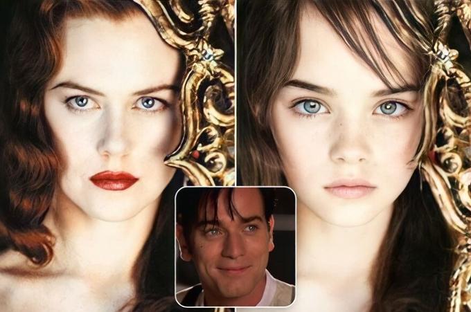 Nếu phim Moulin Rouge kết thúc có hậu, cô ca sĩ Nicole Kidman và chàng nghệ sĩ viết nhạc kịch Ewan McGregor có thể có con gái giống như trong hình.
