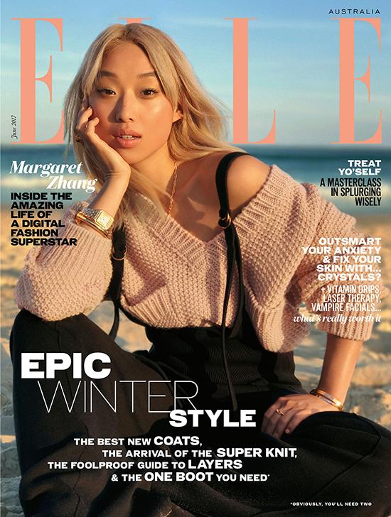 Margaret Zhang trên bìa tạp chí Elle Australia số tháng 6/2017.