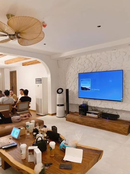 Một góc rõ hơn về phòng khách. Khi muốn TV phát nhạc, gia chủ chỉ cần điều khiển bằng giọng nói qua một thiết bị và TV sẽ tự động chơi nhạc. Điểm nhấn tại phòng khách là quạt trần phá cách với cánh như hình quạt mo. Phía bên cạnh phòng khách là bàn ăn.