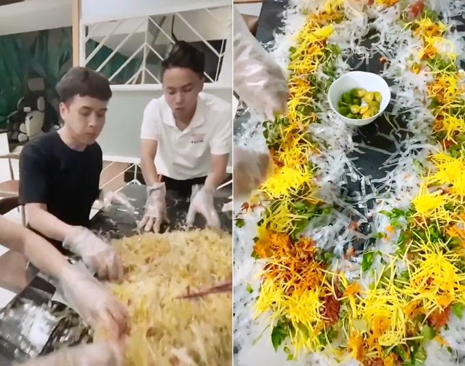 Hồ Quang Hiếu trộn hết một bàn bánh tráng