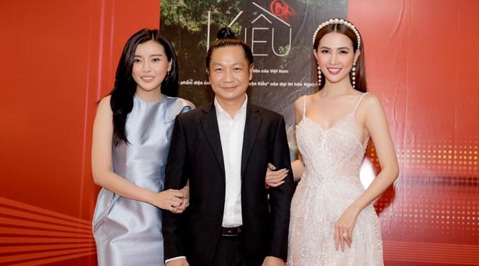 Cao Thái Hà, Phan Thị Mơ bên đạo diễn Đỗ Thành An khi họp báo giới thiệu phim Kiều@.