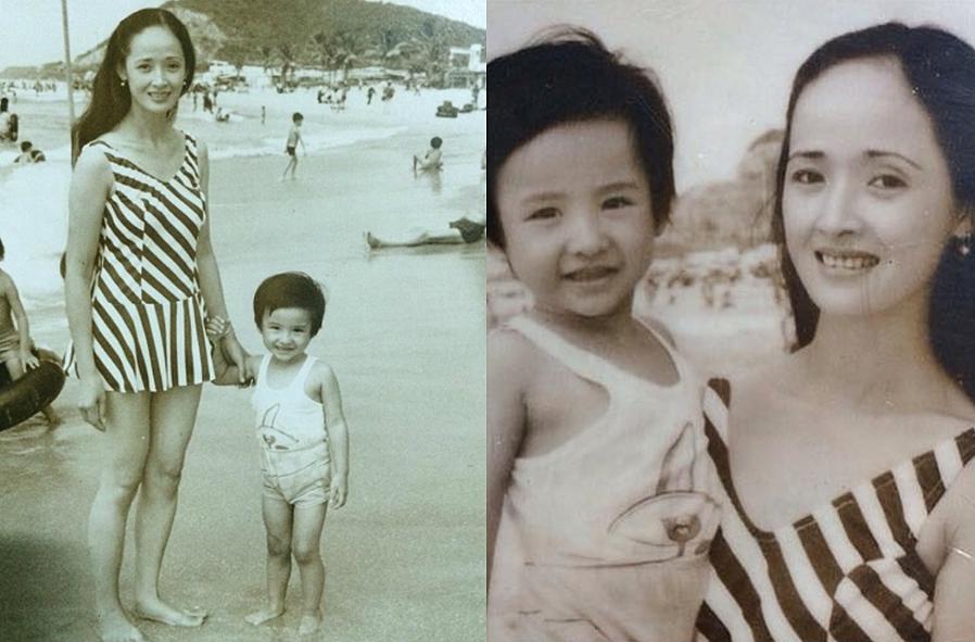Cậu nhóc Lương Thế Thành thích thú đi biển cùng mẹ khi mới 3 tuổi.