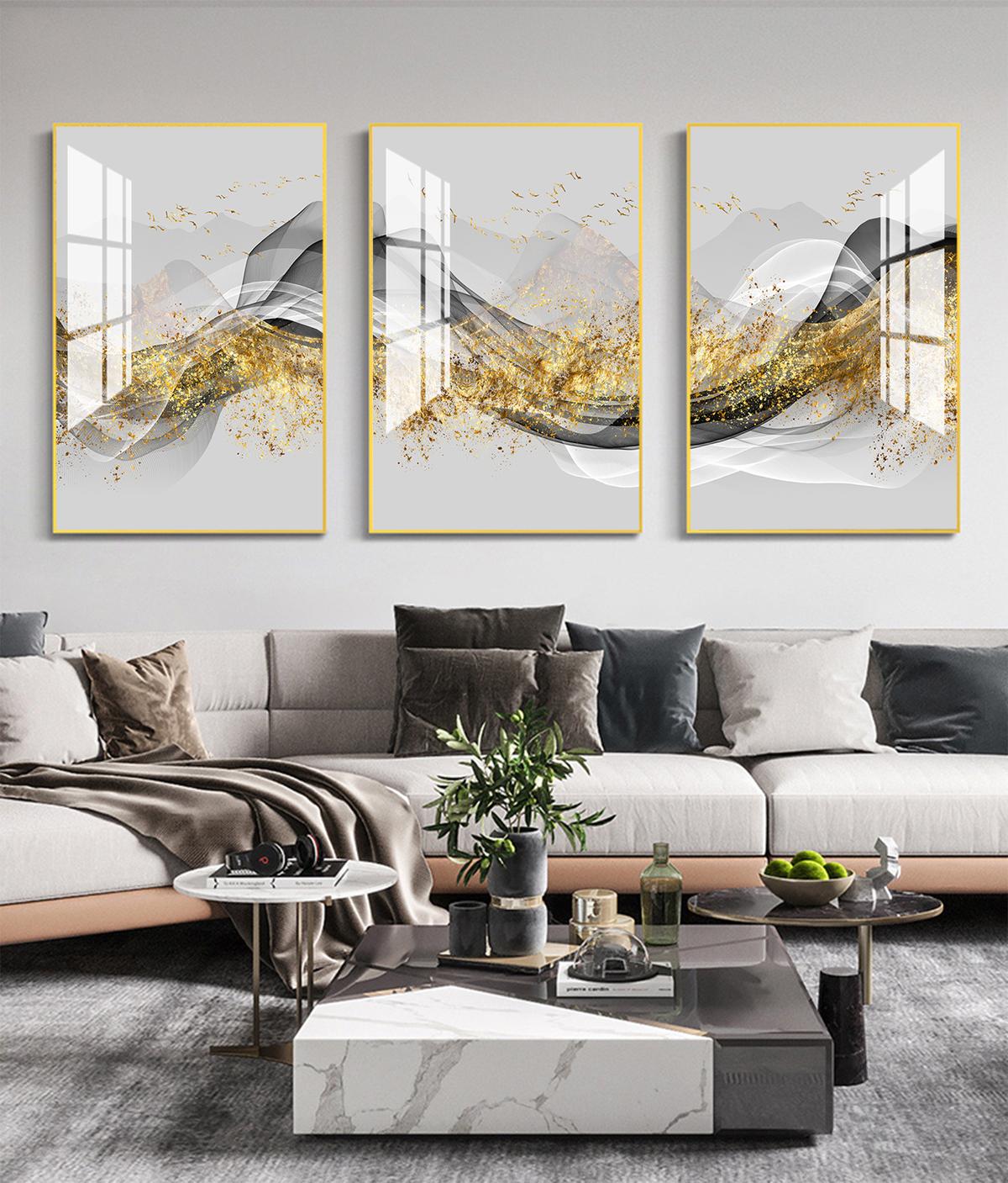 Tranh treo tường tráng gương pha lê cao cấp lụa vàng (40x60x3cm) - Đen 599.000đ(- 46 %)Tranh trang trí nhà ở là bí quyết hoàn hảo giúp bạn thay đổi không gian sống một cách nhanh chóng và dễ dàng, mà vẫn đảm bảo tính thẩm mỹ và sáng tạo.Bề mặt tranh phủ bóng tráng gương sang trọng chống nước giữ màu sắc tươi sáng vĩnh viễnCông nghệ in UV cao cấp hình ảnh tranh chân thực sắc nét lôi cuốnSố lượng: 03 tấmKích thước: 40x60x3cmDễ dàng tháo lắp, không cần khoan đục tườngSản phẩm thích hợp để trang trí nội thất hoặc làm quà tặng