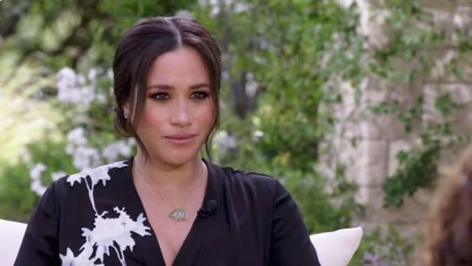 Meghan có những chia sẻ được cho là gây sốc trong cuộc phỏng vấn với người dẫn chương trình Oprah WInfrey trong cuộc phỏng vấn trên CBS. Ảnh: CBS.
